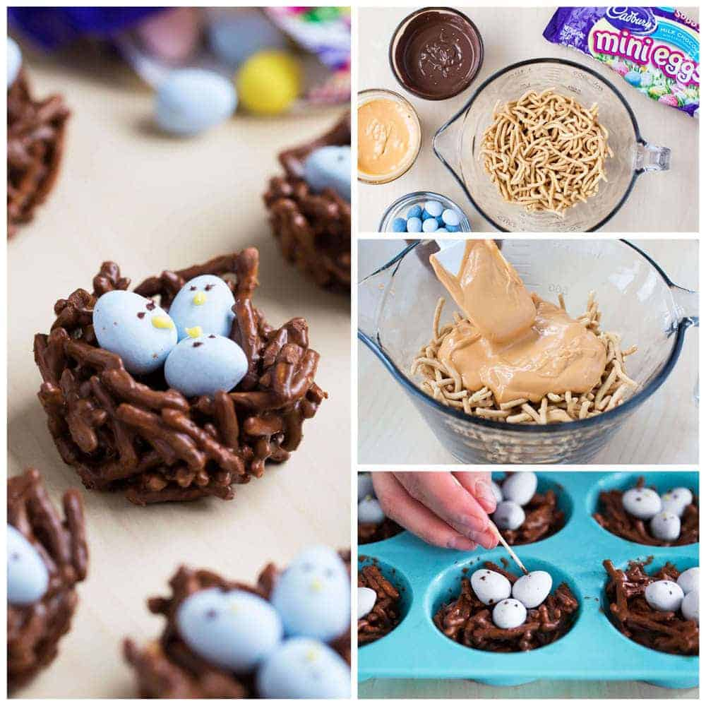 making chocolate birds nest easter treats