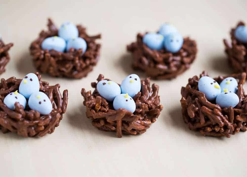 chocolate egg nests with mini cadbury eggs