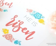 "Free Printable Easter Wall Art - a beautiful and joyous ""He is Risen"" printable, a gorgeous print to add to your Easter decorations."
