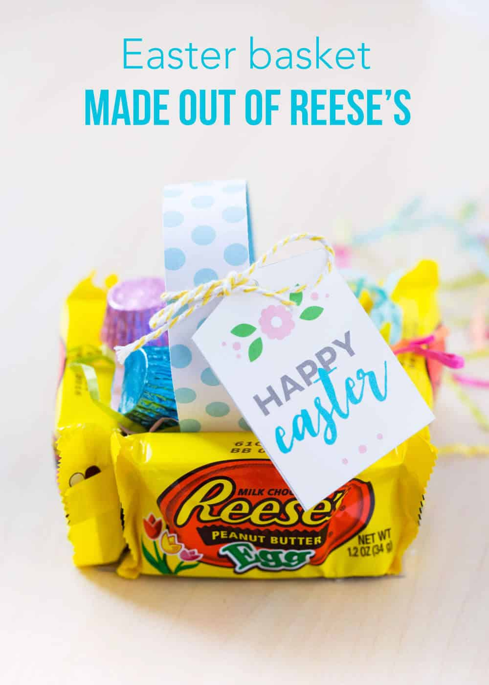 Mini Easter Baskets - made from a Reese's, these adorable and delicious little treats are easy to make and are certain to put a smile on everyone's face!