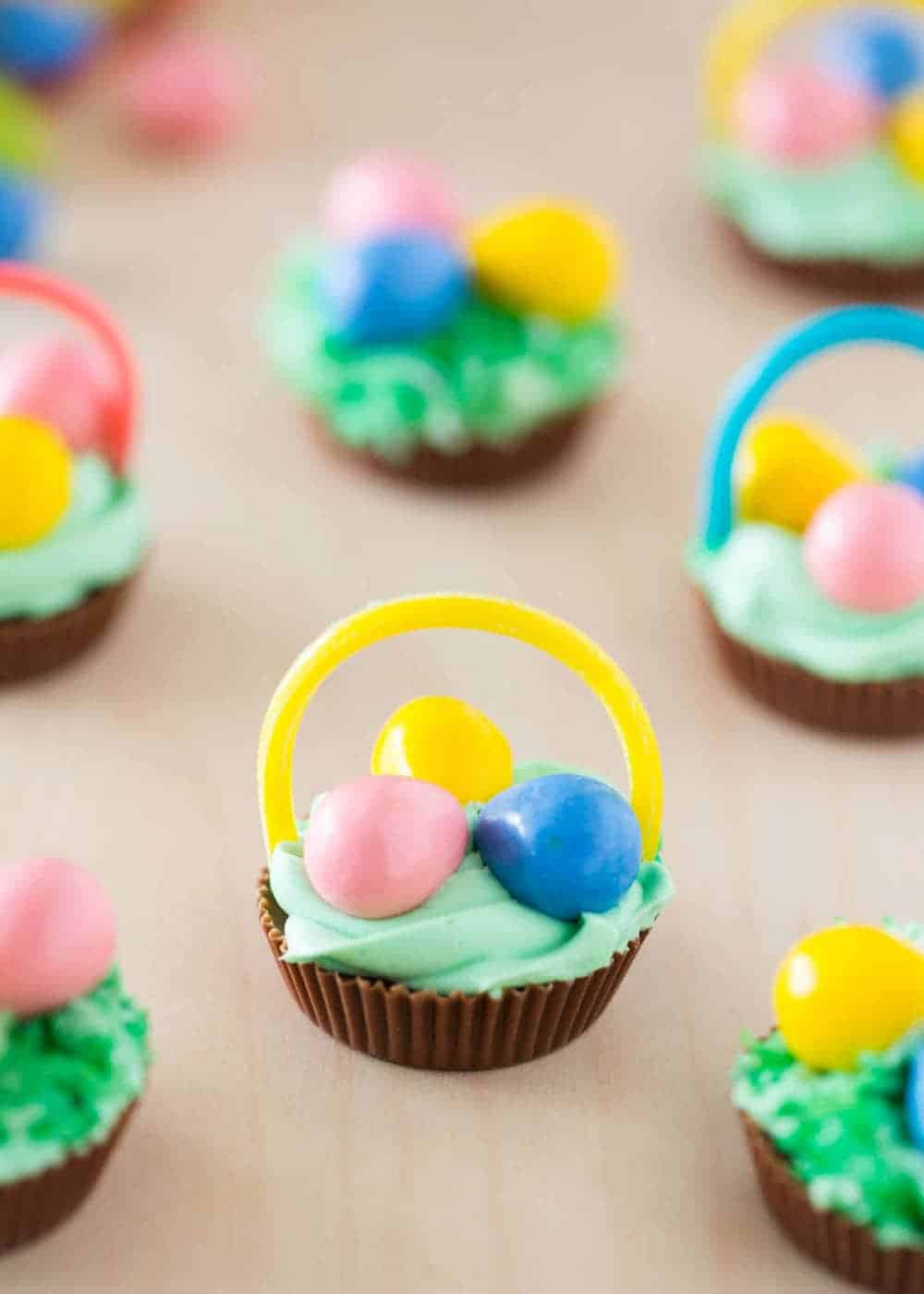 Mini Chocolate Easter Baskets - made from a Reese's, these adorable and delicious little treats are easy to make and are certain to put a smile on everyone's face!