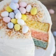 Layered Easter cake with Cadbury eggs on top