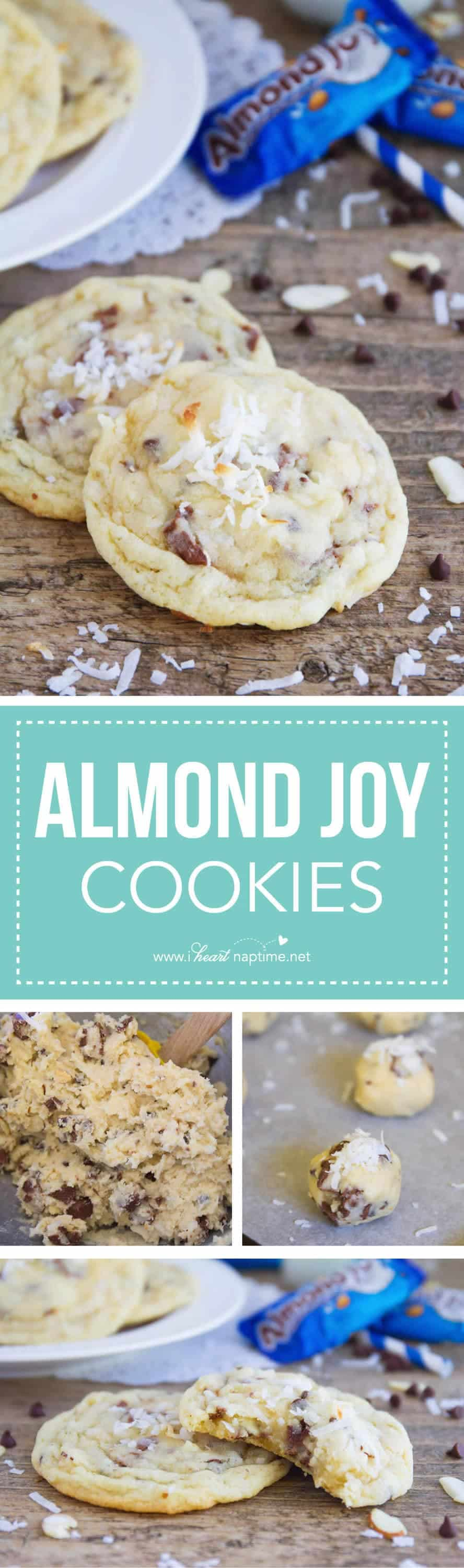 Almond Joy Cookies - a rich coconut cookie dough, packed full of coconut, chocolate chips, almonds, and Almond Joy pieces. An over the top indulgent treat!