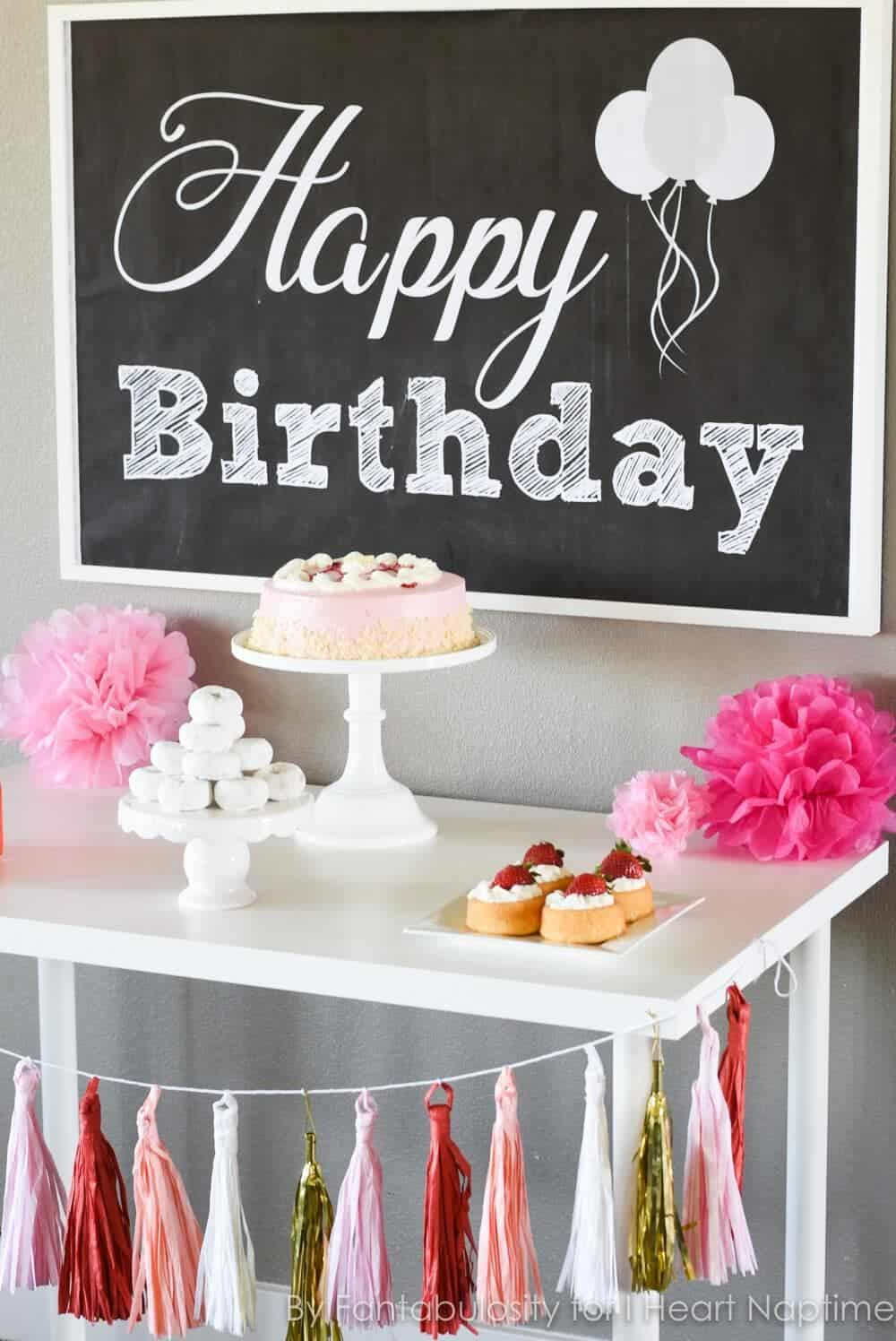 Free Happy Birthday Backdrop   Quickly Decorate Your Dessert Table For A  Birthday Party, By