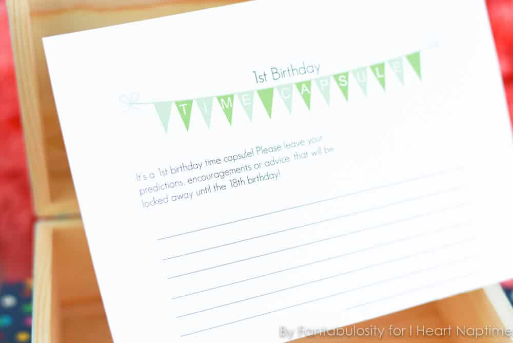 First Birthday Time Capsule with Free Printable I Heart Nap Time – Time Capsule Worksheet