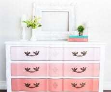 The easiest tutorial on how to paint furniture ...creating a DIY ombre dresser. Just 4 easy steps to creating this look.