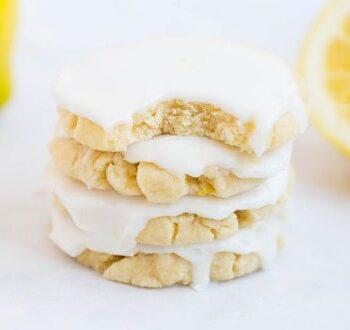 stack of lemon glazed cookies