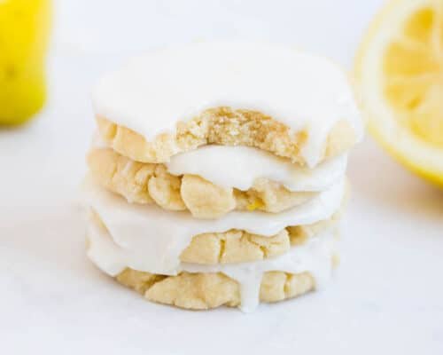 lemon glazed cookies stacked on top of each other
