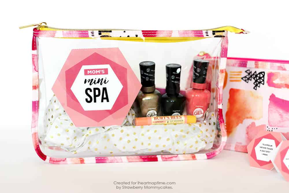 Mother's Day Mini Spa Printables - so easy to print off and stick in a cute makeup case!