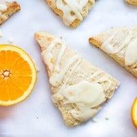 Glazed orange scones recipe... sweet and soft bakery-style scones topped with a fresh orange juice glaze.