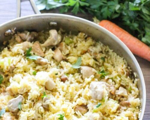 chicken and rice in pot