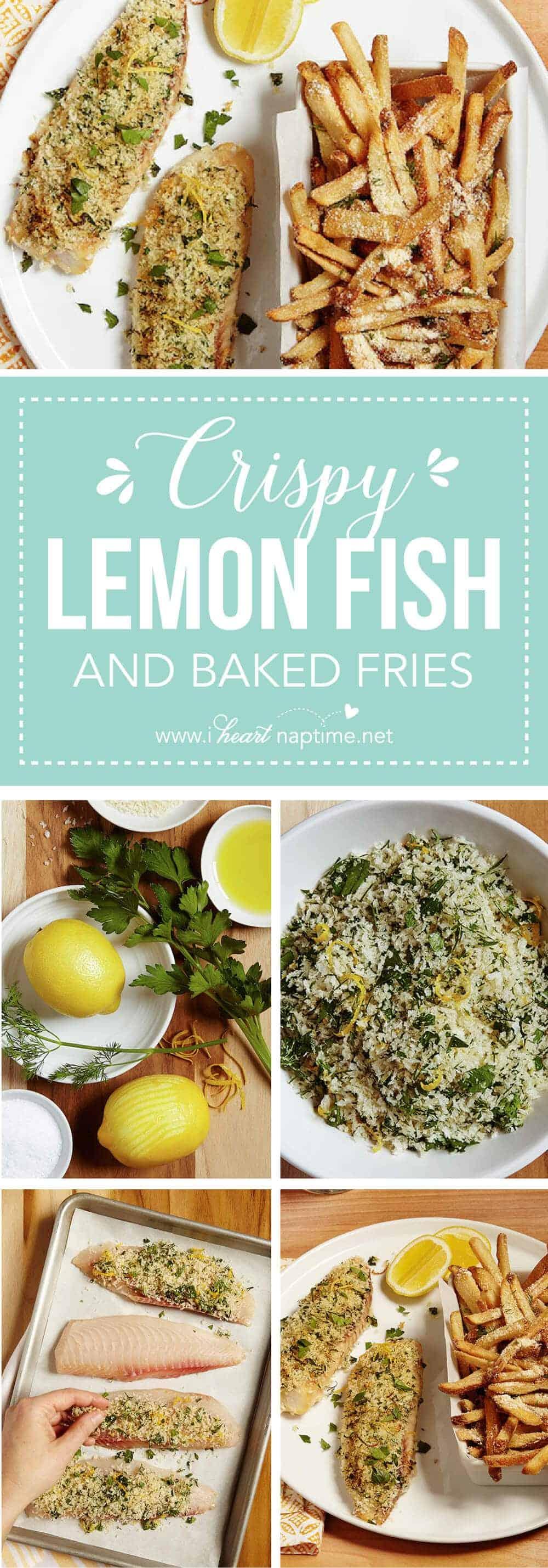 Crispy lemon baked fish with parmesan fries i heart nap time for Baked fish seasoning