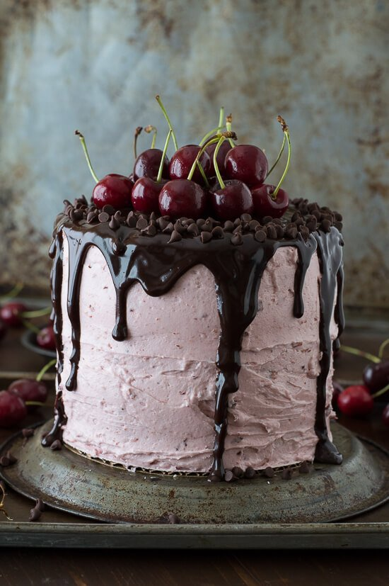 Cherry Pistachio Chocolate Chip Layer Cake