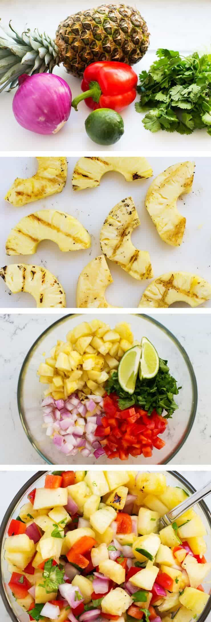 This grilled pineapple salsa is super easy to make and jam packed with flavor – and only takes 5 ingredients to make. It's perfect for summer BBQs as either an appetizer or also tastes amazing on top of hot dogs.
