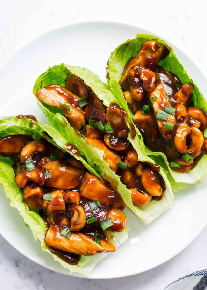 cashew chicken lettuce wraps on plate