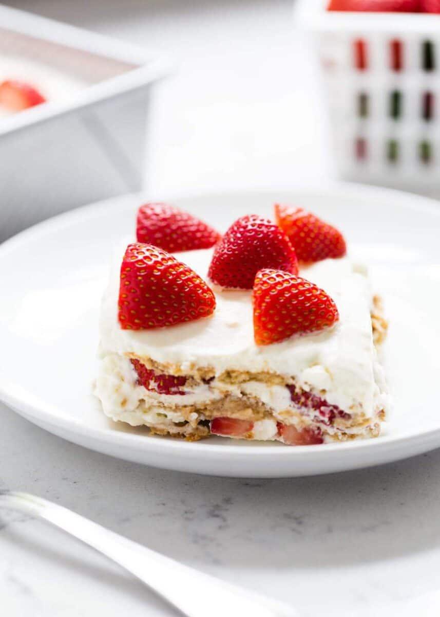 slice of strawberry icebox cake on plate