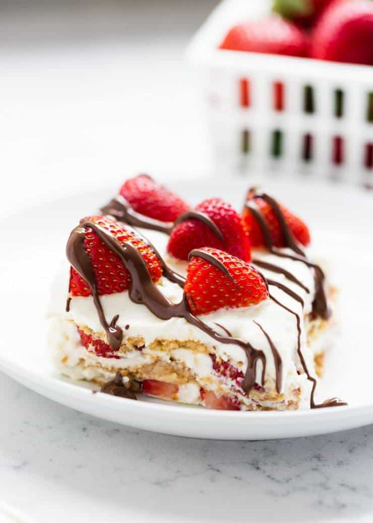 NO BAKE strawberry icebox cake ...a quick and easy dessert made with homemade whipped cream. Perfect for summer!