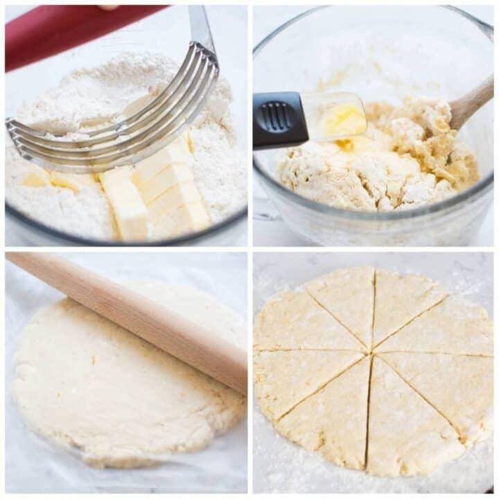 preparing the dough for the orange scone recipe