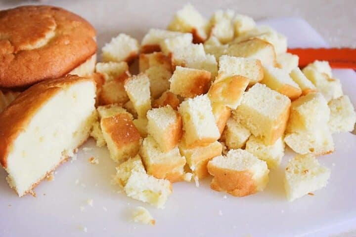 cutting pound cake into cubes