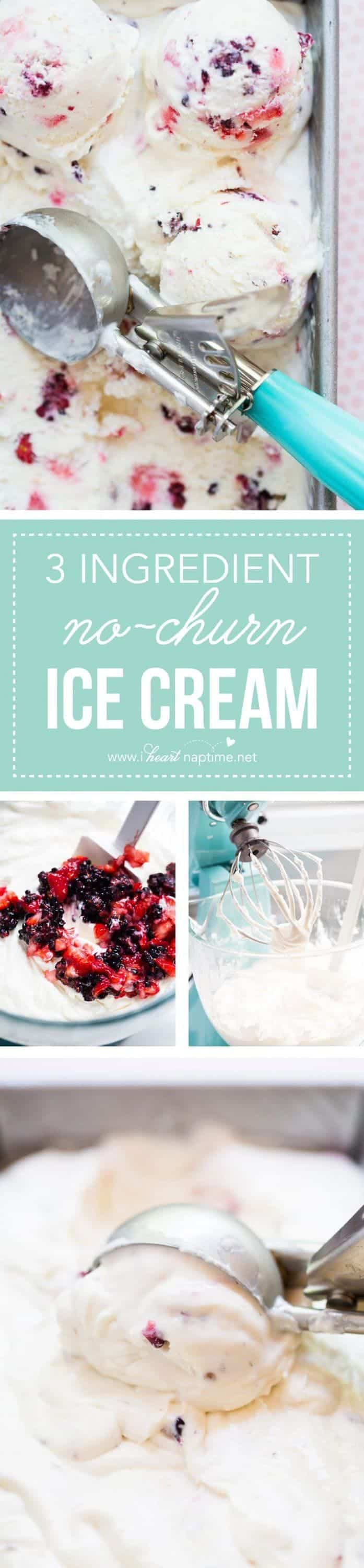 3 ingredient No-Churn berry ice cream...so creamy and delicious! The perfect summer treat!