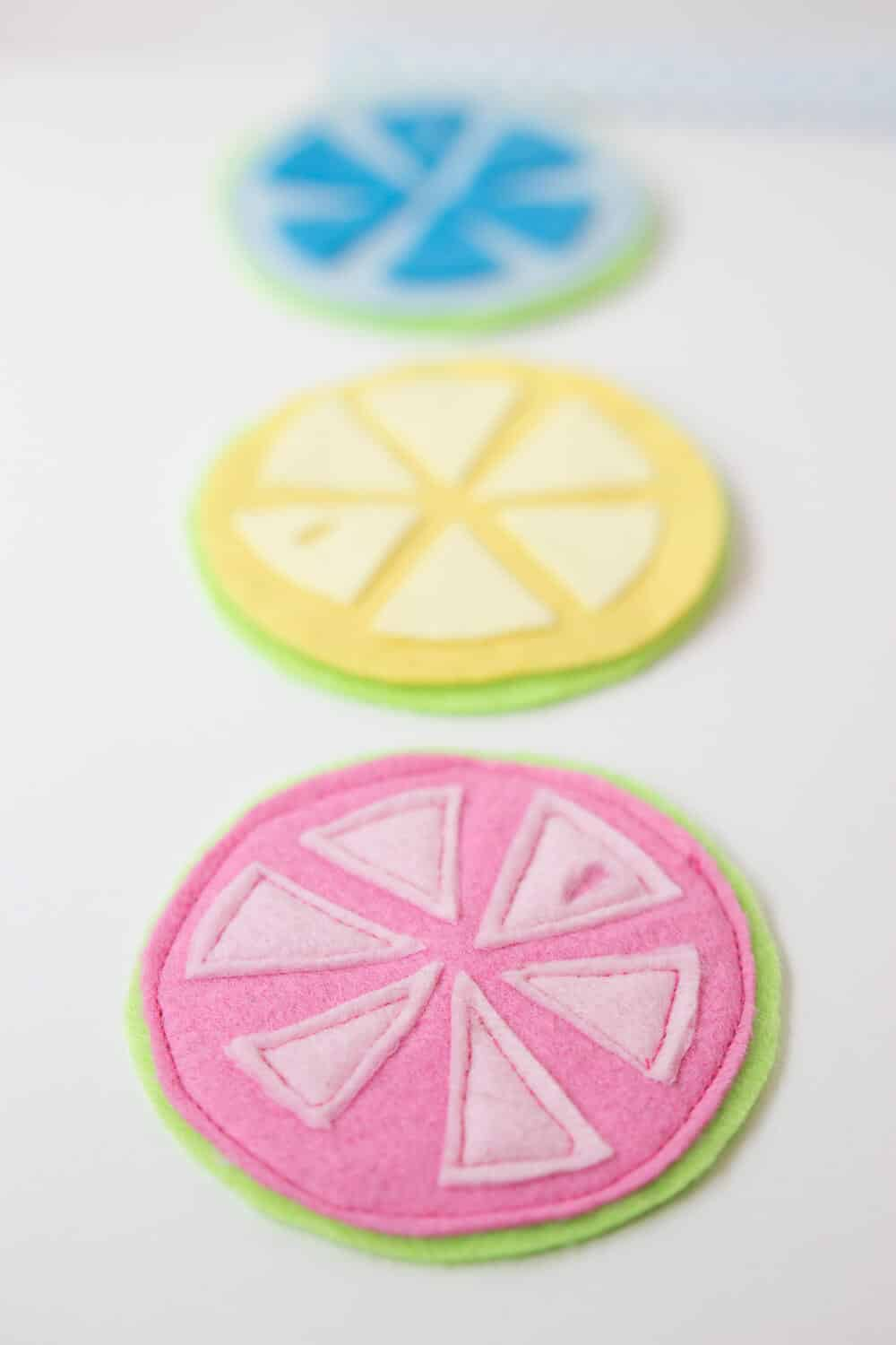 Citrus Coasters - lined up, ready to use!