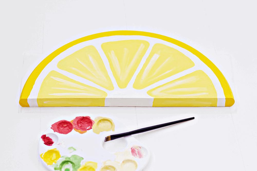Citrus Fruit Serving Trays - painting in the lemon detail
