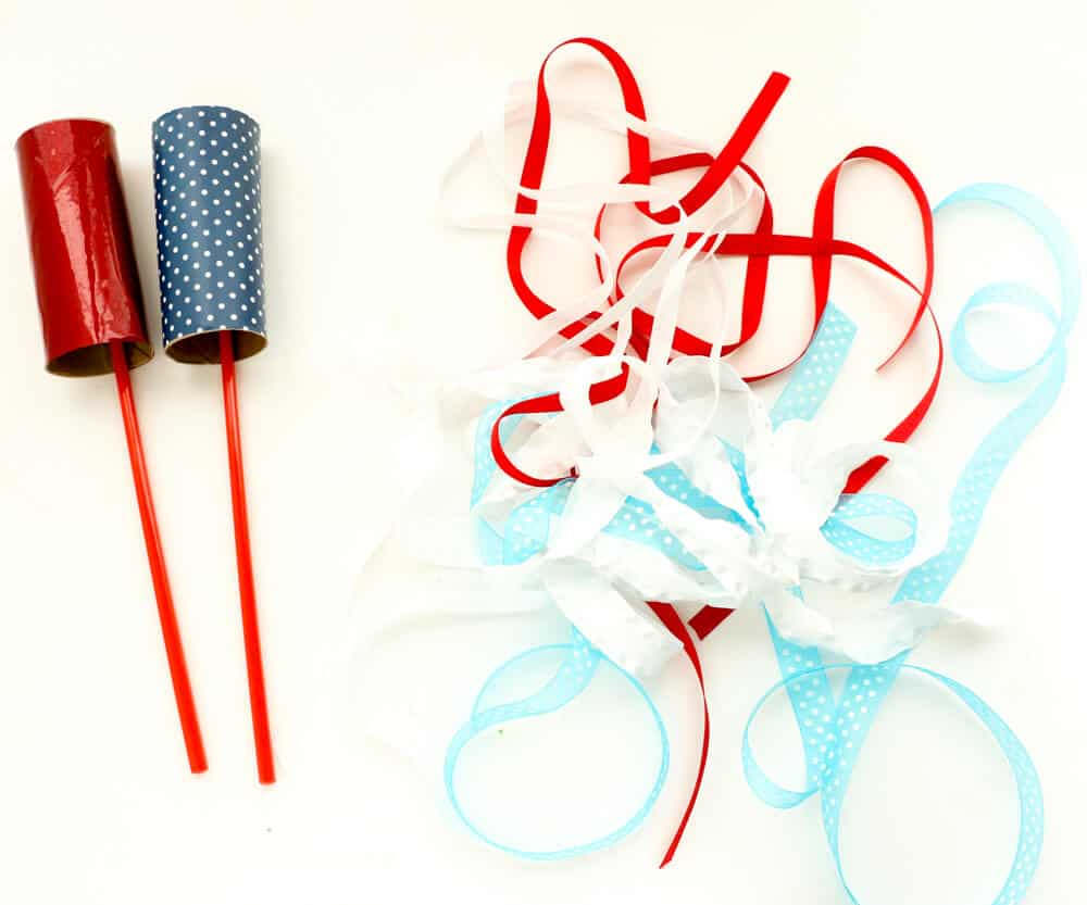 DIY Firework Ribbon Wands - adding the fun ribbon