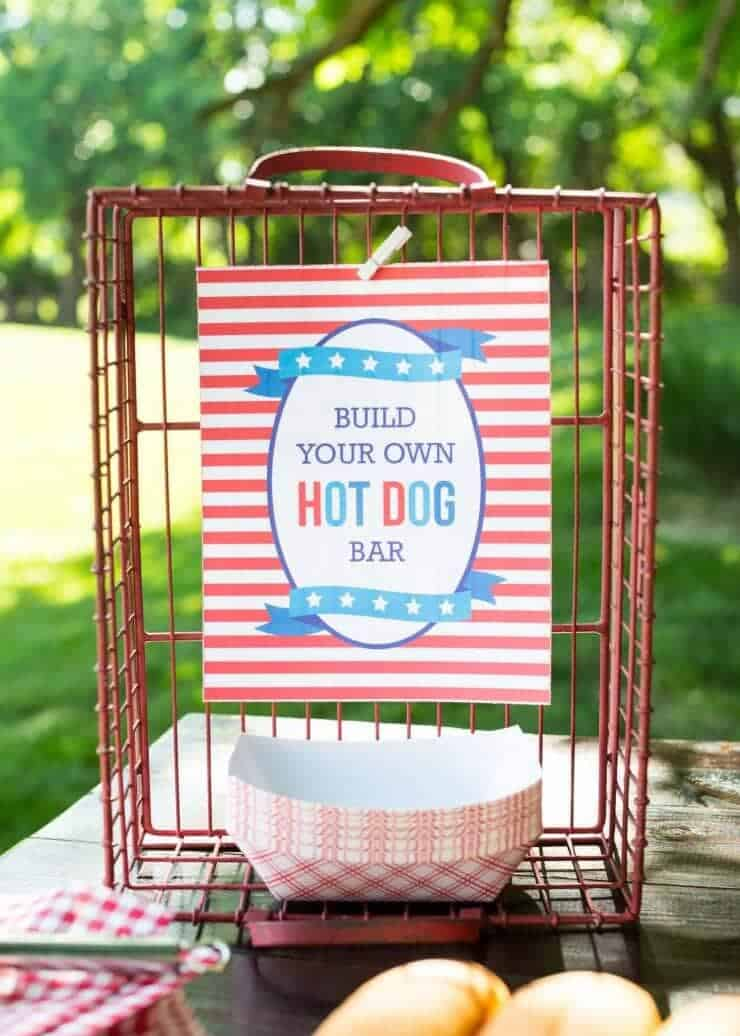 Hot Dog Toppings Bar for the 4th of July - easy printable for your hot dog bar!