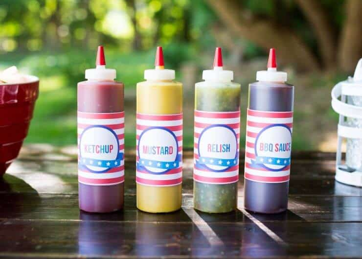 Hot Dog Toppings Bar for the 4th of July - easy to print labels to spruce up your BBQ!