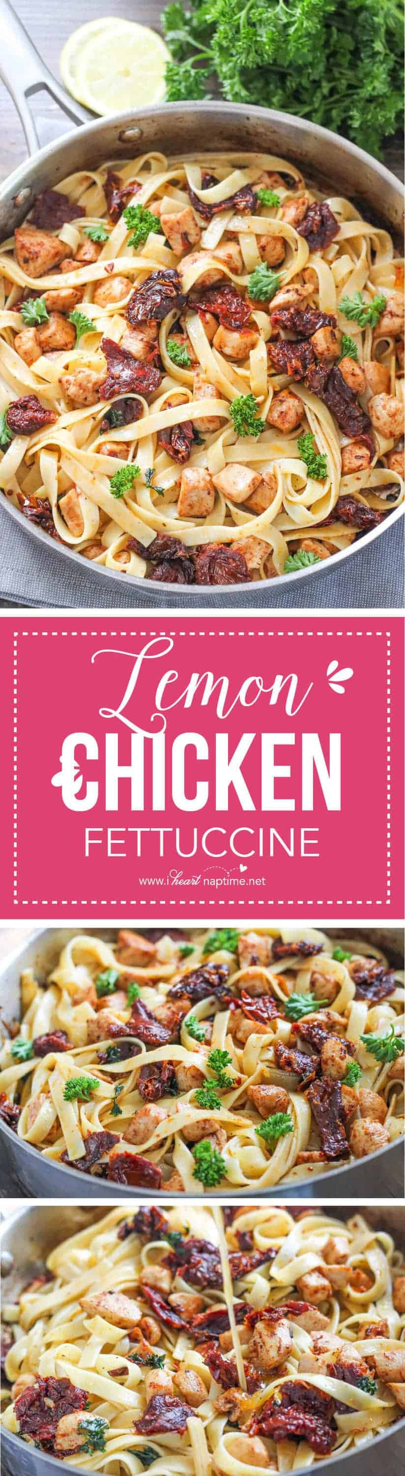 Lemon Chicken Fettuccine - a refreshing pasta recipe made with chicken, sun-dried tomatoes, herbs, and a light lemon dressing. Ready in just 30 minutes, this dish is easy and delicious!