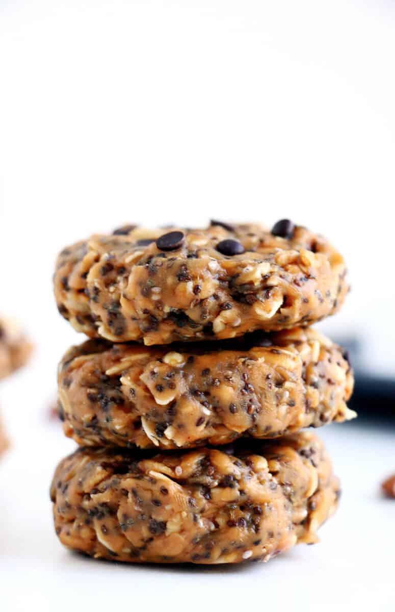 stack of no bake breakfast cookies