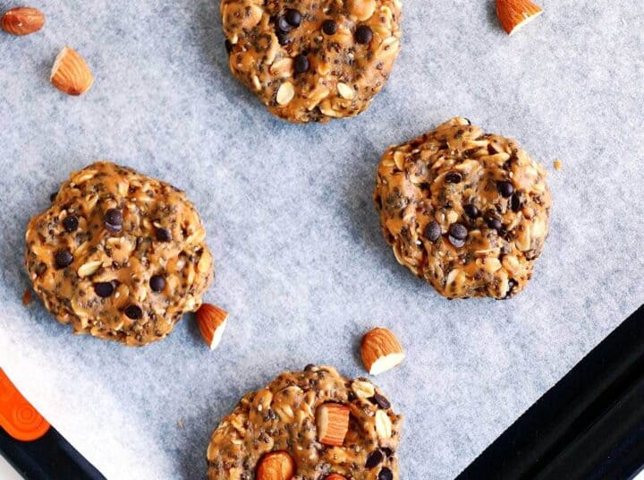 no bake breakfast cookies on parchment paper