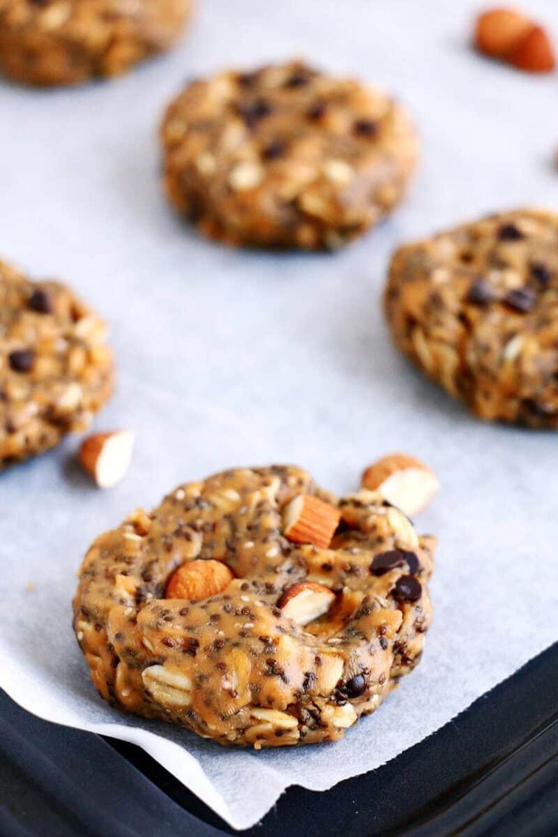 breakfast cookie on baking sheet