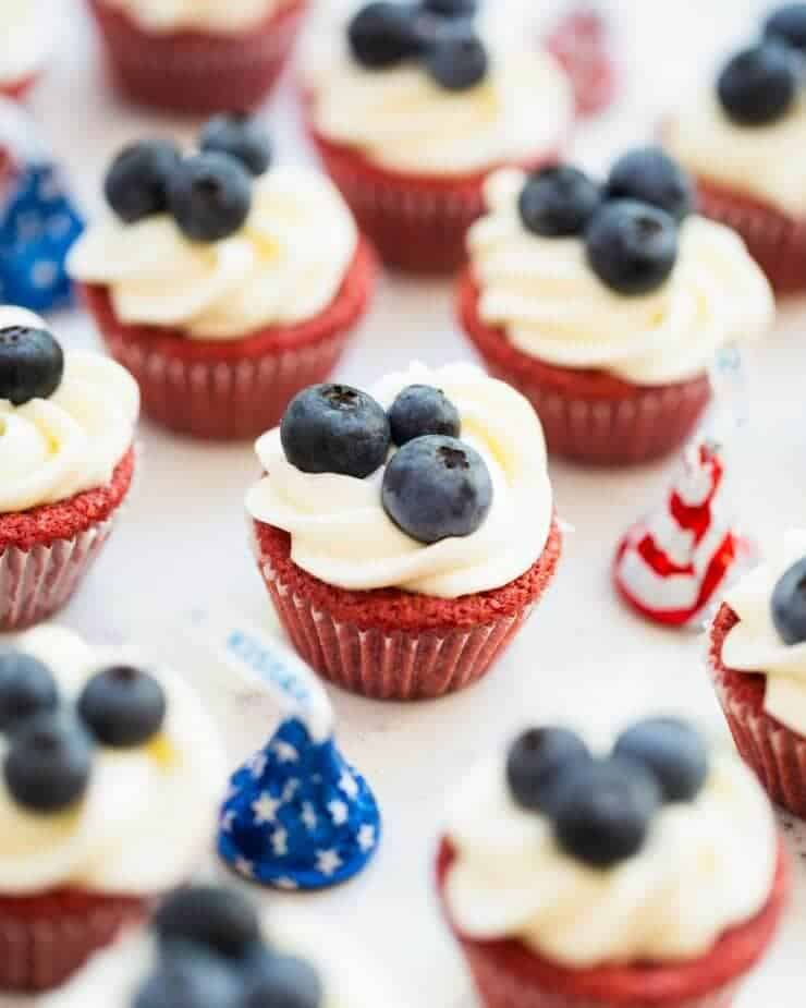 Red Velvet Brownie Cups with Cream Cheese Frosting - ready for a 4th of July BBQ, or perfect any time of the year!