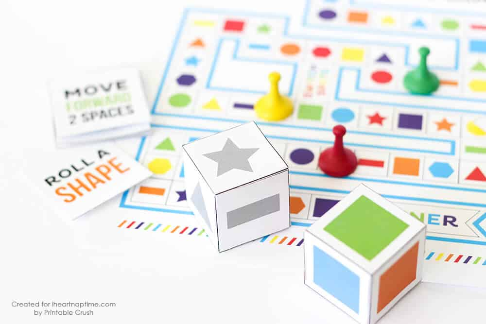 The Shapes and Colors Printable Board Game as easy instructions and free printables!