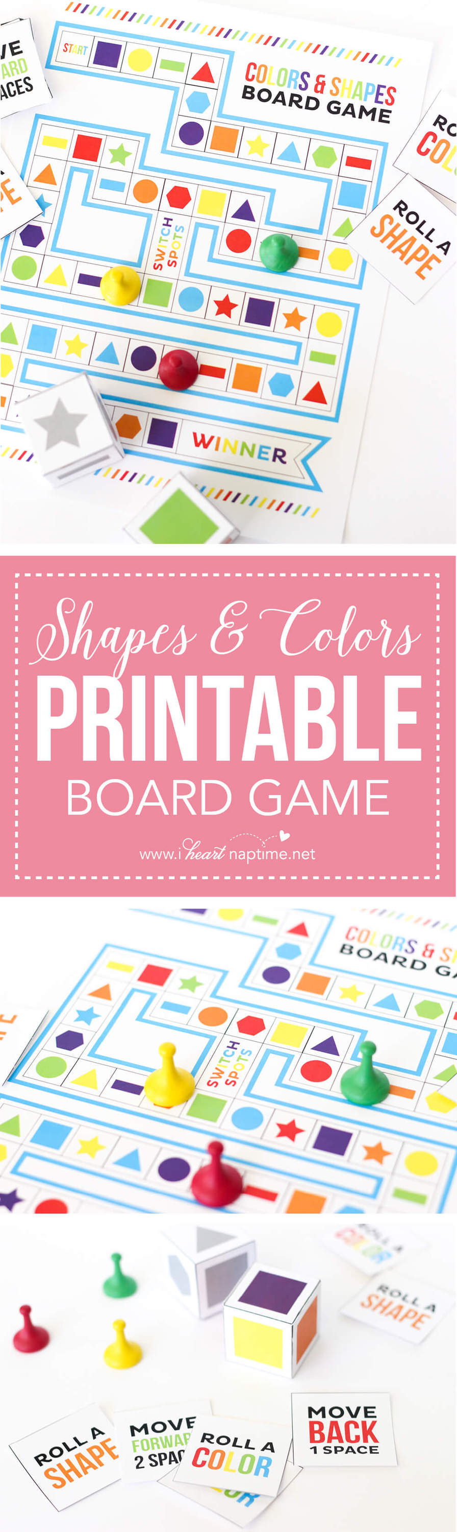 Game board colors - Shapes And Colors Printable Board Game The Perfect Summer Boredom Buster Easy To Print