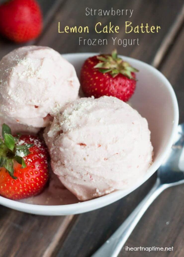 Strawberry Lemon Cake Batter Frozen Yogurt on the Top 50 Homemade Ice Cream and Popsicle Recipes