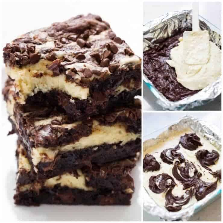 Delicious cheesecake brownies filled with a cream cheese filling and extra chocolate for the ultimate treat!