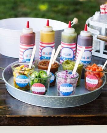 Hot Dog Toppings Bar for the 4th of July - free printables make an easy addition to your backyard BBQ!