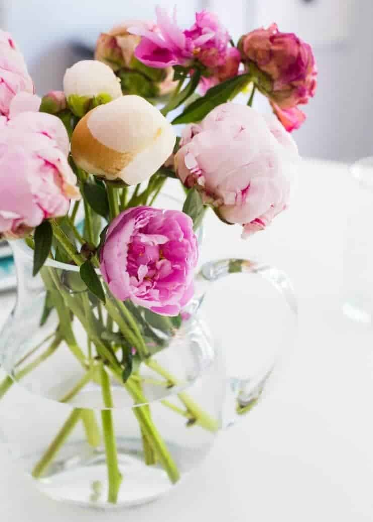 DIY Chalk Paint Table + Cheese Board -- beautiful peonies