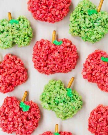 Apple shaped rice crispy treats ...the kids love to help make these easy treats!