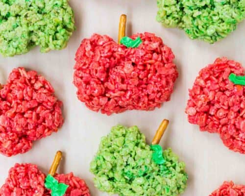 Apple shaped rice crispy treats ...the kids love to help make these easy treats!