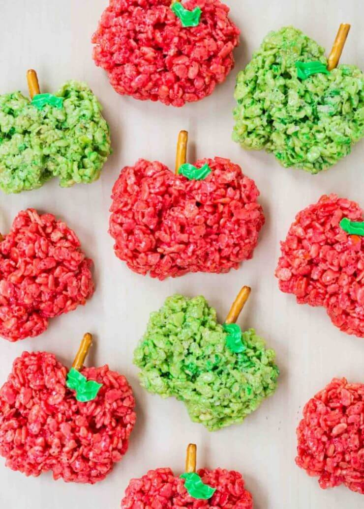 Top 50 Back to School Lunches and Snacks... apple-shaped rice crispy treats