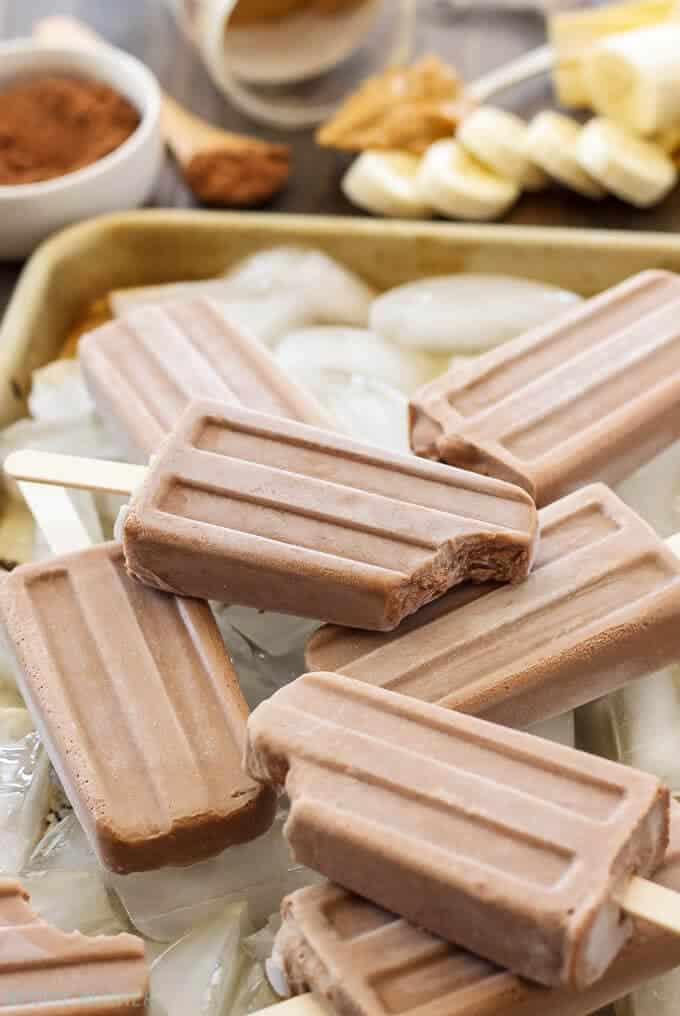 Chocolate Peanut Butter Banana Yogurt Pops on the Top 50 Homemade Ice Cream and Popsicle Recipes