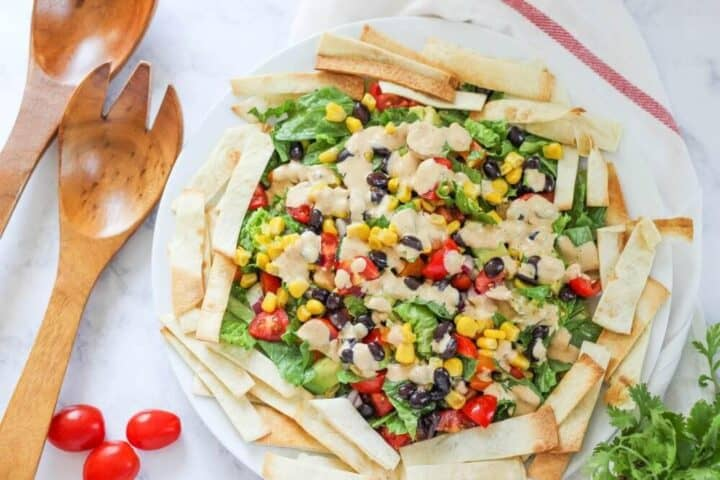 bowl of mexican salad with homemade tortilla strips