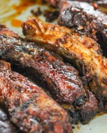 a close up of ribs