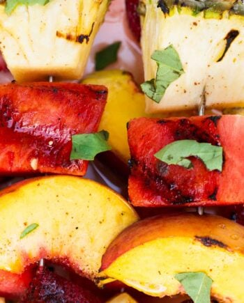 Grilled Fruit Kabobs with a Cinnamon Honey Glaze is delicious and easy to make for a laid-back dinner
