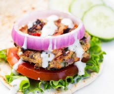 Greek Chicken Burger... dinner is served in 20 minutes with this delicious, healthy, family-friendly recipe!