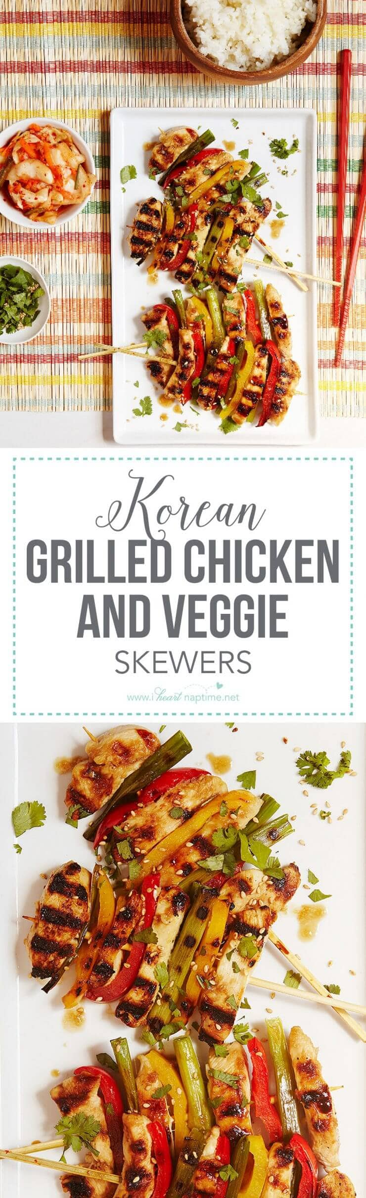 Korean Grilled Chicken and Veggie Skewers – bring authentic cooking home with a simple marinade, tender chicken and colorful vegetables.