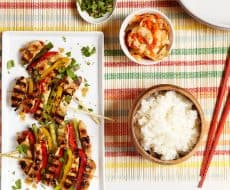 Korean Grilled Chicken and Veggie Skewers – bring authentic cooking home with a simple marinade, tender chicken and colorful vegetables. Easy to make and the whole family loves it!